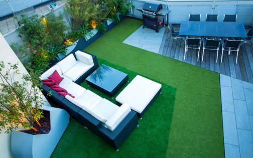artificial grass garden roof terrace designs