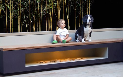built in modern garden benches