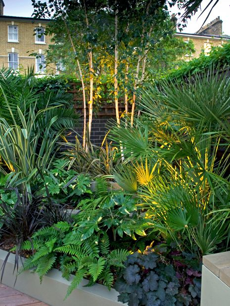Granite Exotic Foliage Garden Design With Low Maintenance Raised Beds