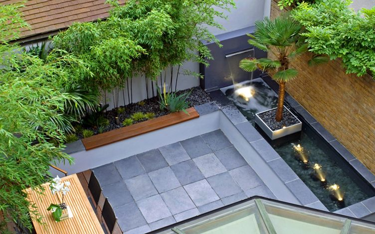 contemporary elegant small courtyard london garden