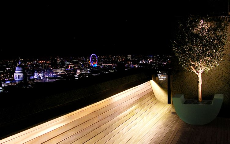 night view of st pauls and london eye from high rise city penthouse roof garden