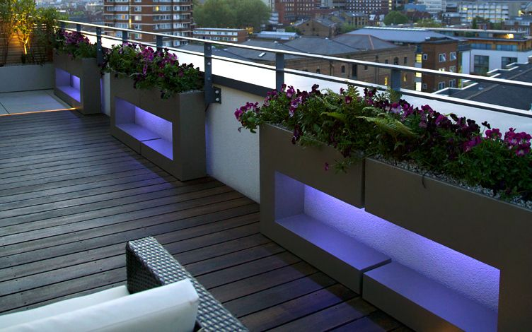 city roof terrace customised planters london