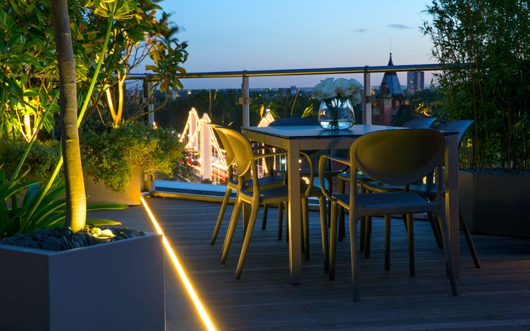 city roof garden seating lighting views