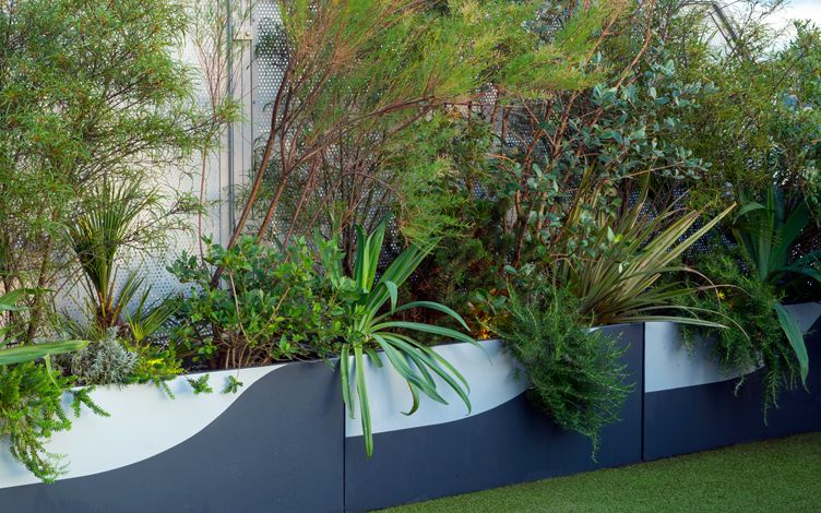 sculptural roof terrace garden planters