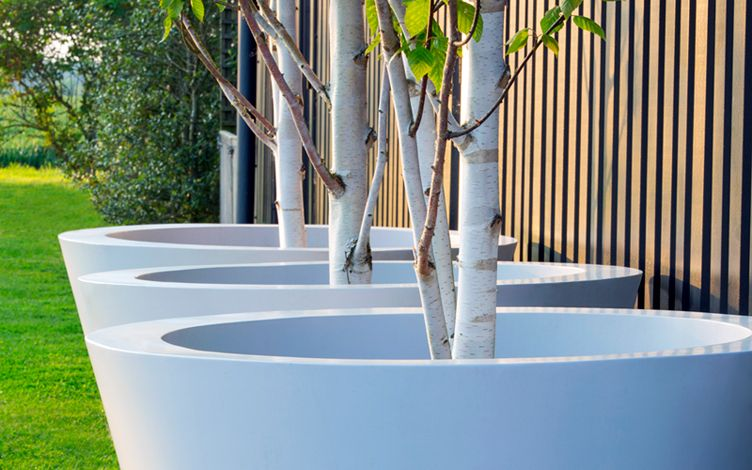 big planters for modern outdoor space