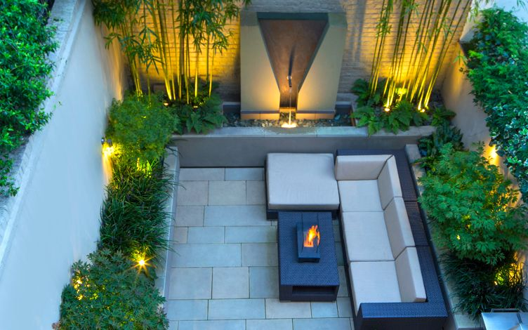 Small London Garden Water And Outdoor Fire Features ...